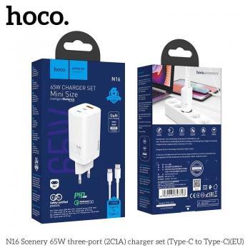 Bộ sạc Typec - Typec Hoco N16 Hỗ trợ sạc nhanh, Output typec 65w