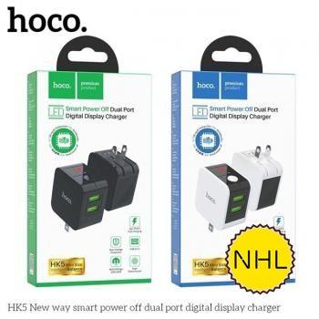 Củ sạc nhanh tự ngắt Hoco HK5 2 cổng - QC3.0 + Led hiển thị dòng điện