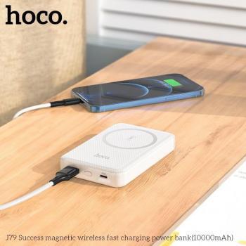 Sạc dự phòng không dây Hoco J79 10000mAh Hỗ trợ sạc nhanh QC3.0, Output Typec 20w, Sạc không dây 22,5w