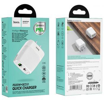 Củ Sạc 2 cổng Hoco C85 - Hỗ trợ sạc nhanh QC3.0 (New)