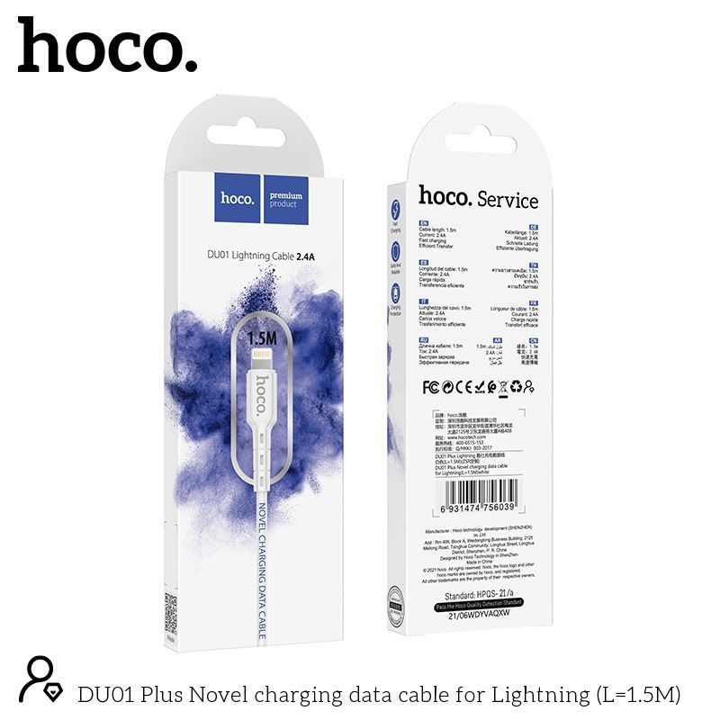 Cáp sạc nhanh lightning Hoco DU01 1,5m