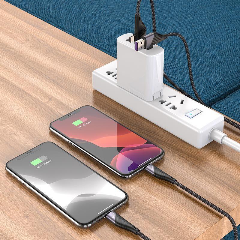 Cáp sạc 2 đầu Hoco U95 - 2in1 USB / TypeC sang Lightning PD 20W