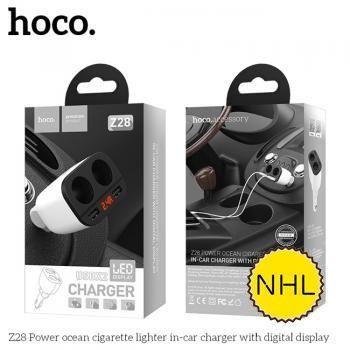 Tẩu sạc 2 cổng Hoco Z28 2.4A - kèm led