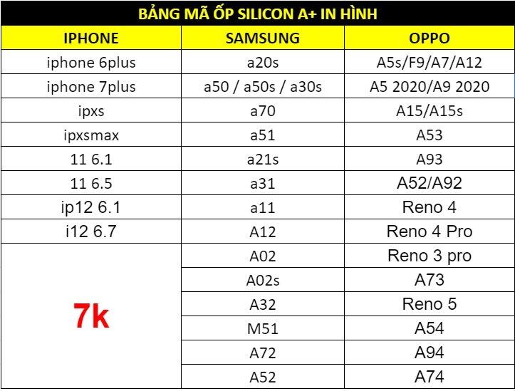 Ốp silicon A+ in hình giá sỉ